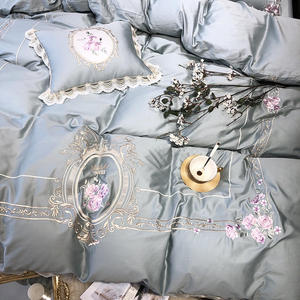 Image 5 - Egyptian cotton Luxury King Queen size Bedding Set Embroidery duvet covers Classical Blue Pink Bed cover set couvre lit de luxe