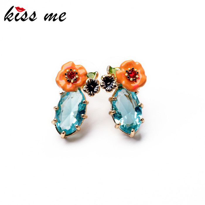 KISS ME 2017 Latest Shiny Elegant Gold Color Alloy Resin Flower Crystal Drop Earrings for Women Statement Jewelry Accessories
