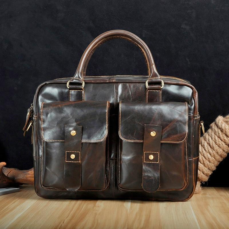 Men Quality Leather Antique Retro Business Briefcase 14 Laptop Case Attache Portfolio Bag One Shoulder Messenger