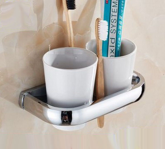 Wall Mounted Polished Chrome Brass Bathroom Toothbrush Holder Set Bathroom Accessory Dual Ceramic Cup mba836 image