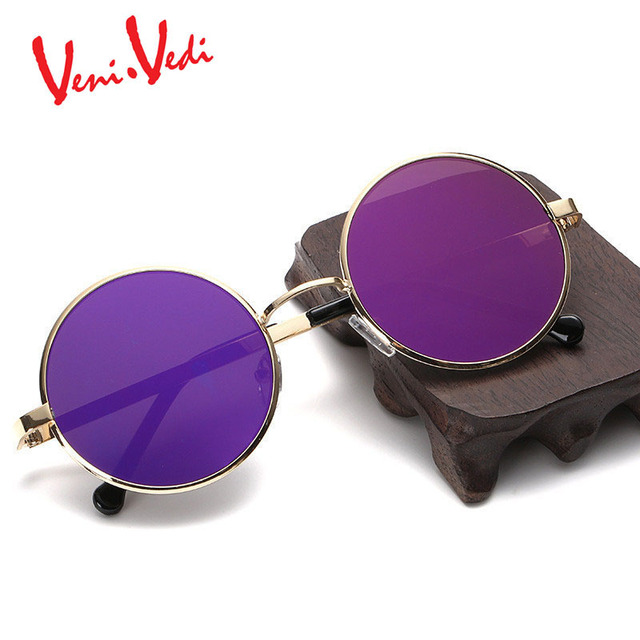 VENI VEDI woMen's sunglasses round sun glasses vintage metal Design sunglasses Retro gafas de sol mujer new