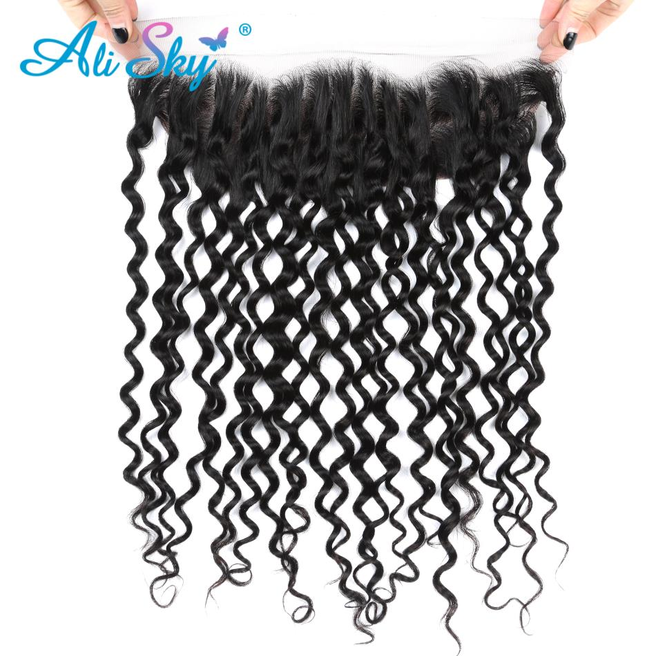 Alisky Hair Brazilian Water Wave Lace Frontal 13X4 Human Hair Natural Hairline Remy Hair Free Shipping