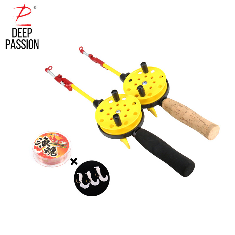 DEEP PASSION Ice Fishing Rod Set For Winter Fishing Pole Holder For Fishing Pesca Carp Ice Rod Combo Telescopic Rod Kit Tackle