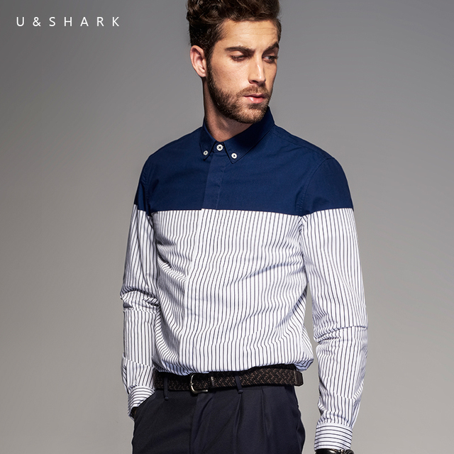 a04b46b369 England Style Long Sleeve 100% Cotton Designer Shirt Slim Fit Business Shirt  Chemise Homme 2016 U Shark Casual Stripe Shirt Male