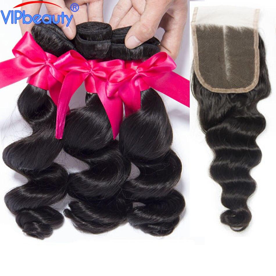 Vip Bellezza Malese Onda Allentata 3 Pacchi Con Chiusura Remy Hair