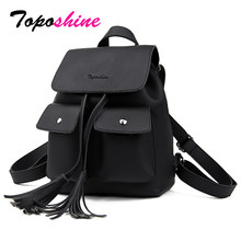 Toposhine 2019 Fashion Tassel Girl Backpacks Small PU Leather Cute Women Backpack Fashion Lady Shoulder Bag Rivet Schoolbag 1731(China)