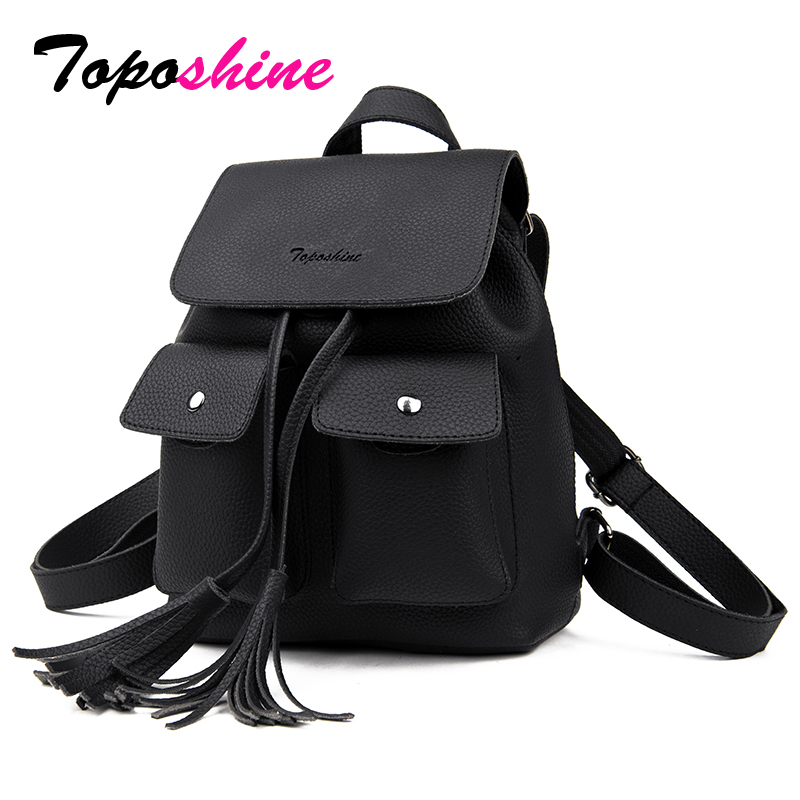 Toposhine 2018 Fashion Tassel Girl Ryggsäckar Små PU Läder Söt Kvinnor Ryggsäck Mode Lady Shoulder Bag Rivet Schoolbag 1731