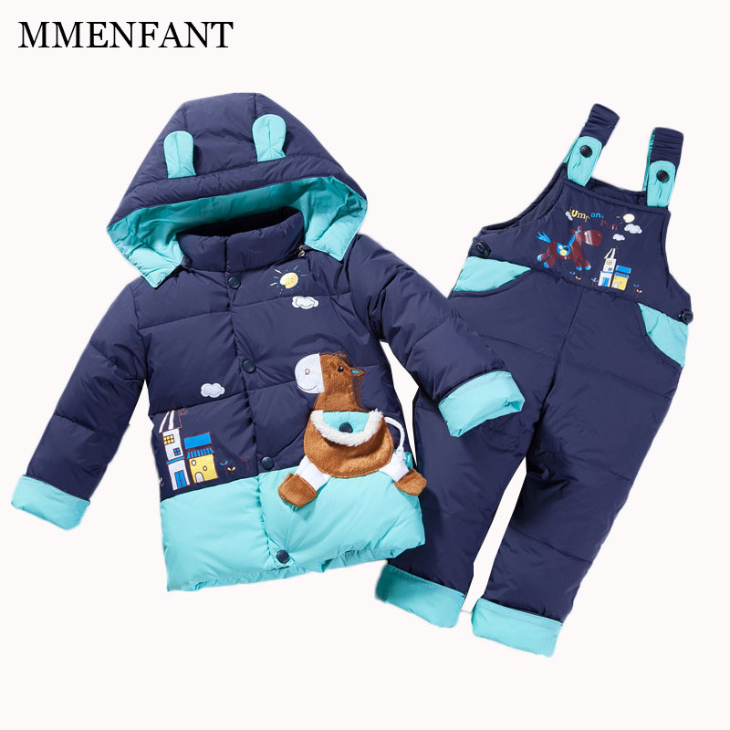 baby cartoon animal Horse Children boys girls winter warm down jacket suit set thick coat+jumpsuit baby clothes set kids jacket фаскосниматель ingotools sb0056