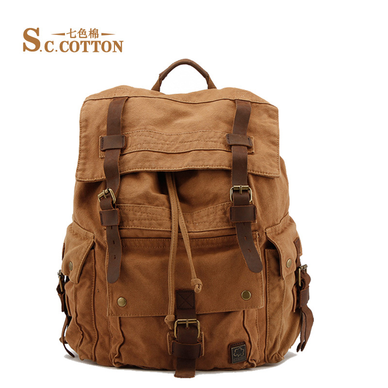 цена Fashion Vintage Canvas Backpack Mountaineering Men's Backpacks Casual 2016 School Packpacks Bags