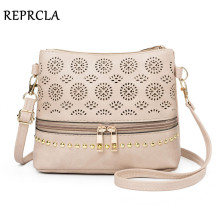 цена на REPRCLA 2019 Hollow Out Women Bag Handbag Vintage Messenger Shoulder Bag PU Leather Crossbody Bags for Women Bolsa Feminina