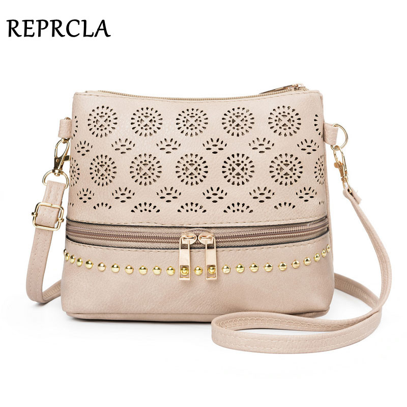REPRCLA 2020 Hollow Out Women Bag Handbag Vintage Messenger Shoulder Bag PU Leather Crossbody Bags For Women Bolsa Feminina