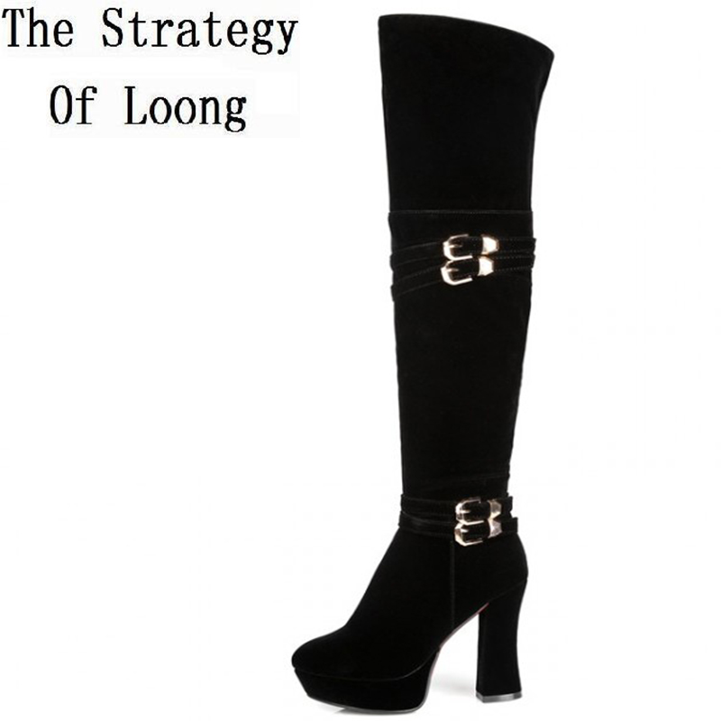 Women Autumn Winter Thick High Heel Buckle Round Toe Side Zipper Red Bottom Over The Knee Boots Plus Size 33-43 SXQ0907