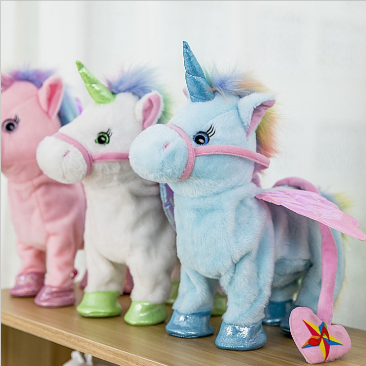 Electric Walking Unicorn Plush Toy Unicorn Toy for Children Christmas Gifts