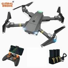 Global Zangão Zangão com Câmera HD RC Helicóptero Zangão Zangão Wi-fi FPV Quadcopter Dobrável Selfie Altitude Hold VS E58 JY018