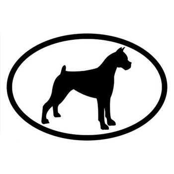 15.2*10.2CM BOXER Dog Oval Cartoon Vinyl Decal Car Styling Personality Decoration Animal Stickers C6-1513 image