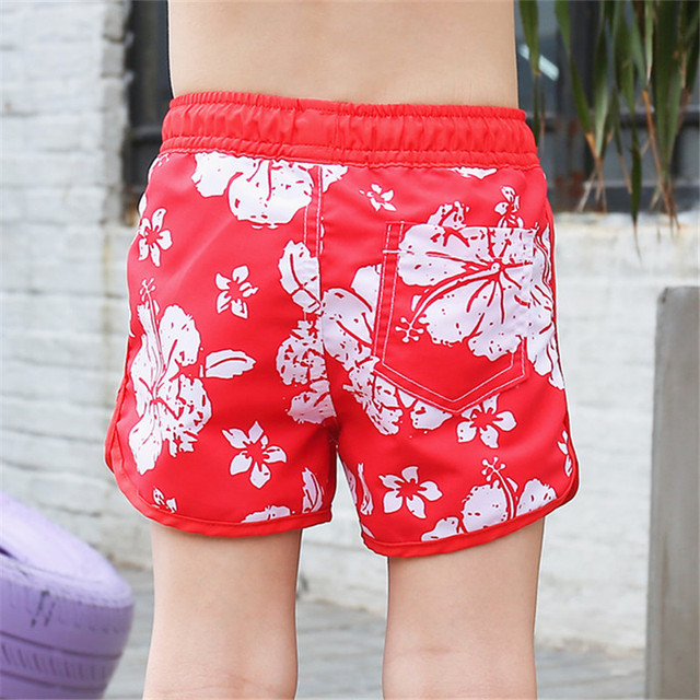 New Boys Red with flower Beach Shorts
