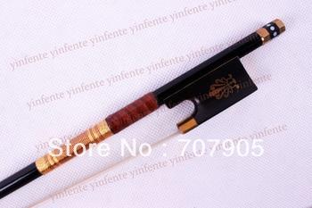 Violin Bow Black Carbon fiber Natural Horse Hair Straight  Golden Color String & Rare Frog mosaic #1