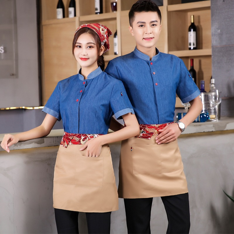 Western Restaurant Waiter Work Uniforms Summer Chinese Hot Pot Chef Uniform Coffee Shop Clothing Short Sleeve Waitress Overalls
