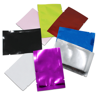 2000Pcs Multi-colors Glossy Aluminum Smell Proof Pouches for Sample Package Heat Sealable Open Top Vacuum Foil Bag Food Storage