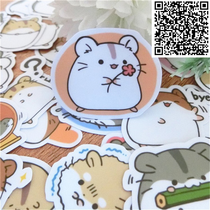 40 Pcs Mini Hamster Waterproof Cap Creative Sticker For Album Decoration Luggage  Phone Styling Home Toy Cartoon Stickers