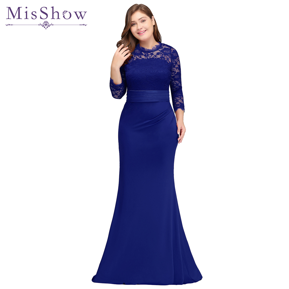 robe de soiree longue Plus Size Evening Dresses 2018 Cheap Red Royal Blue Long Mermaid Evening Party Gown Dress Vestido De Festa