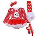 4 Unids por Set Baby Girl Puntos Rojos Santa Hohoho Outfit Vestido del tutú del Bebé primero Zapatos de Traje de Fiesta de Navidad Calentadores de La Pierna diadema