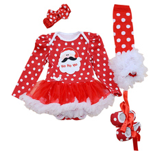 4PCs per Set Baby Girl Red Dots Santa Hohoho Outfit Tutu Dress Infant 1st Christmas Party