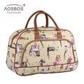 Aosbos Women Waterproof PU Leather Travel Duffle Bag Large Portable Print Female Tote Bag Fashion Casual Handbags for Ladies