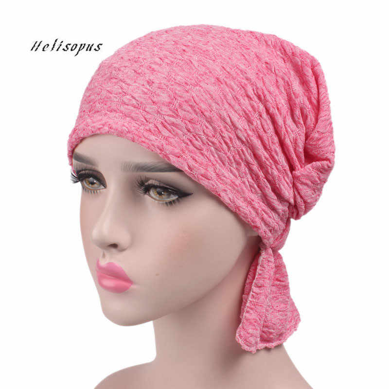 474b6dbe5 Helisopus 2019 New Women Cotton Scarf Cap Summer Beanies Chemo Hat Stretchy  Turban Headwear for Cancer Patients