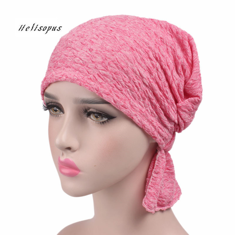 Helisopus 2019 New Women Cotton Scarf Cap Summer Beanies Chemo Hat Stretchy Turban   Headwear   for Cancer Patients