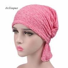 Helisopus 2019 nueva bufanda de algodón de mujer gorra de verano gorros de quimio sombrero de turbante elástico para pacientes con cáncer