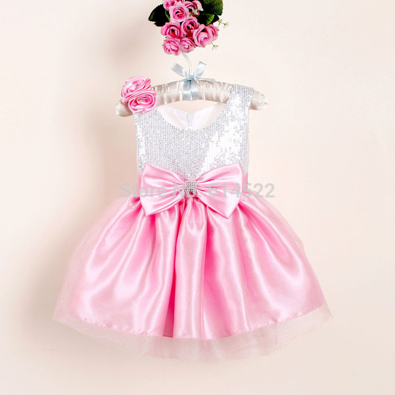 Christmas Girl Dresses With Bow Flower Sequined Baby Party Dress For