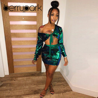BerryPark High End Green Shiny Sequin Long Sleeve Bandage Crop Top + Skirt 2 Piece Set 2019 Winter Women Party Matching Outfits