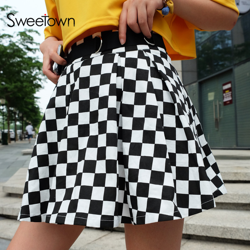 Sweetown Korean Fashion Checkerboard Pleated Skirts Womens Sashes High Waist Zipper Cotton Short Skirt Woman Summer 2018 Skirts
