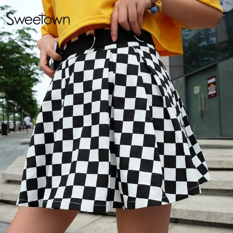 Sweetown Korean Fashion Checkerboard Pleated Skirts Womens Sashes High Waist Zipper Cotton Short Skirt Woman Summer 2018 Skirts