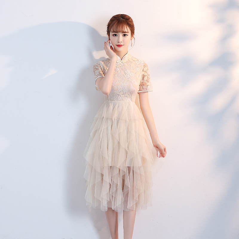 Fashion Short Dress Embroidery Chinese Style Fairy Cheongsam Dress Qipao Flower Bridesmaids Dresses For Women Wedding Party