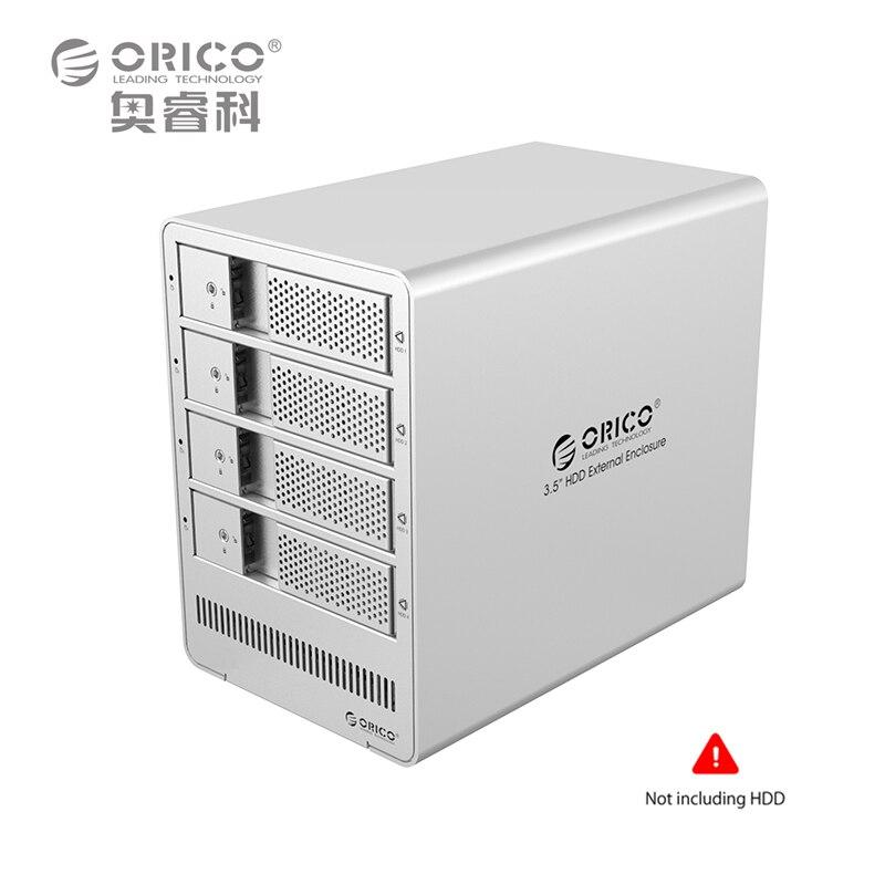 ORICO 9548RU3 4-bay 3.5 USB3.0 ESATA Raid SATA3 HDD Enclosure HDD Docking Station Case for Laptop PC (Black) EU Plug Black