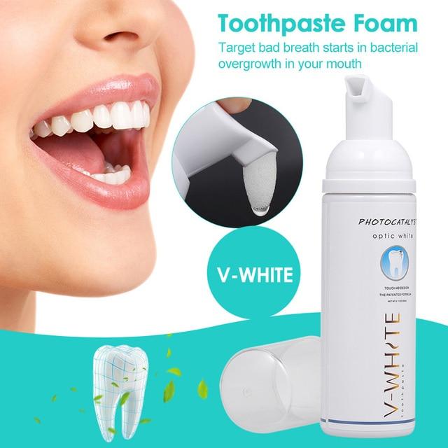 Nuevo 60 ml pasta de dientes blanqueamiento de espuma Natural boca de agua de lavado de dientes pasta de dientes blanqueadora líquido Oral higiene pasta de dientes
