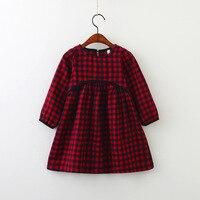 Spring 2018 Children Girl Dress Cotton Long Sleeve Red Black Plaid Kids Dresses European Girls Clothing