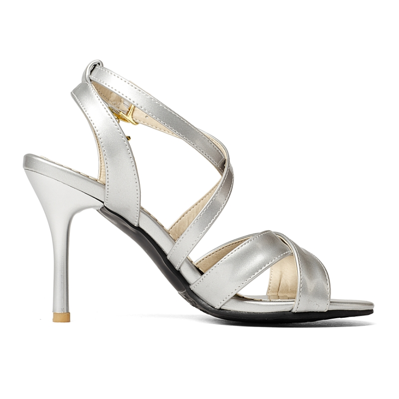 6e4a02becf2f20 R$ 106.41 40% de desconto|KARINLUNA New Big Size 32 43 Prata Preto Vinho  Branco Gladiador Sapatas Das Mulheres Sexy sapatos de Salto Alto Sandálias  ...