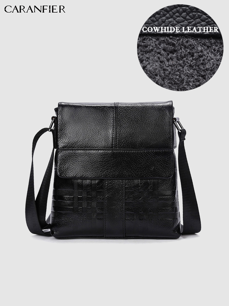 CARANFIER Mens Briefcases Genuine Cowhide Leather Classic Crossbody Travel Bags Male Vintage Quality Shoulder Messenger Bags