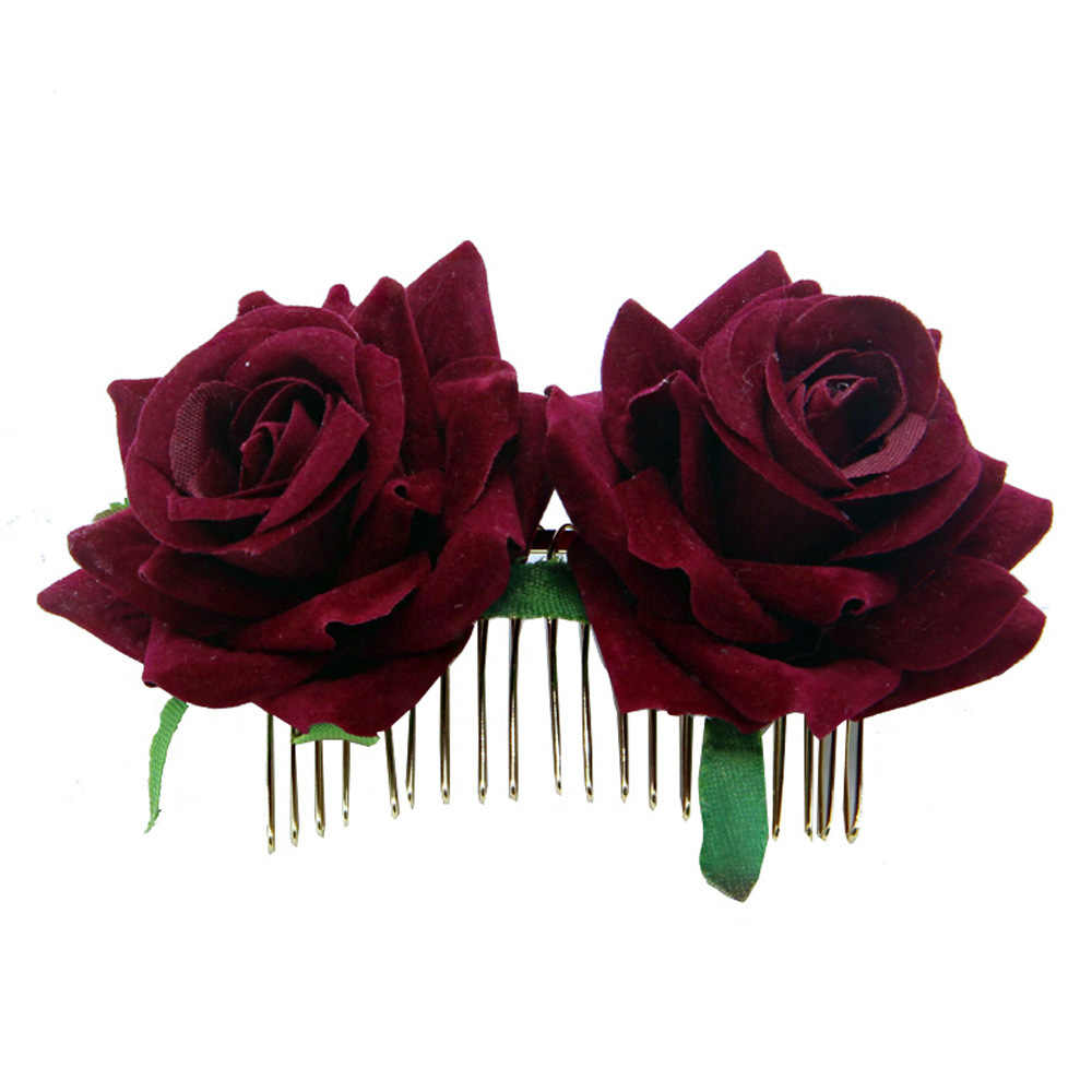 White/Red Rose Flower Hair Combs Wedding Bridal Fashion Jewelry Women Prom Headpiece Charm Hair Accessories Hair Pins Clips