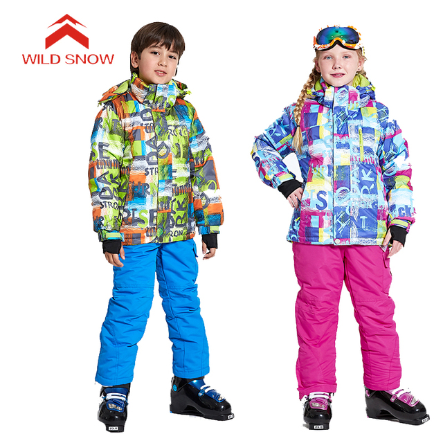 9c5f05a2da WILDSNOW Boys Girls  Winter Ski Suits Outdoor Waterproof Skiing Snowboarding  Camping Hiking Kids Child Ski