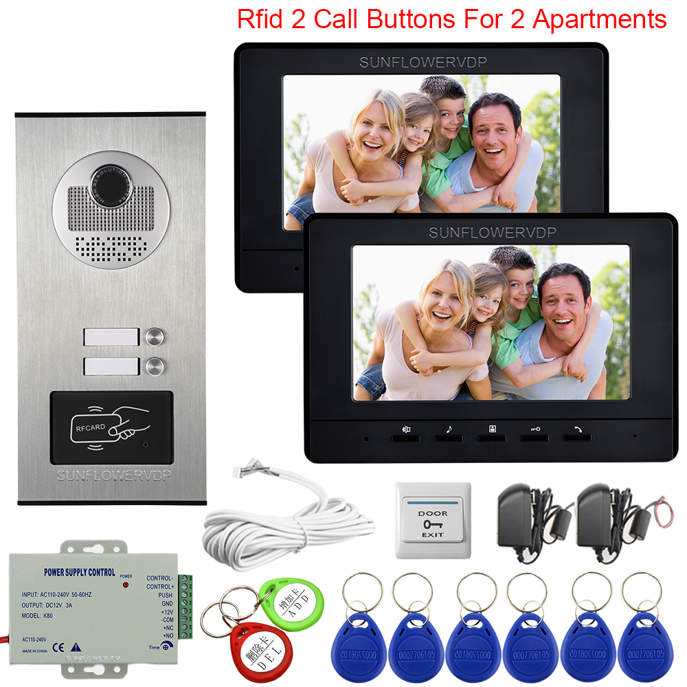 7 Inchs Colol Video Intercom For 2 Apartments Key For The Entrance Door Intercom Access Control Video Door Phone Intercom System