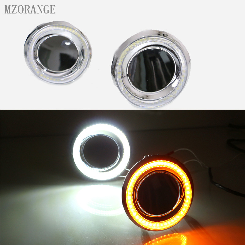 MZORANGE LED Daytime Running Lights DRL Fog lamp angle eyes light For Toyota Land Cruiser Prado 150 FJ150 LC150 2014 2015 dimmed light function car led drl daytime running lights with fog lamp hole for toyota prado land cruiser fj150 lc150 2010 2013