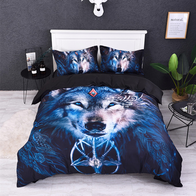1a23821fa5d Fanaijia Wolf bedding Sets queen size 3d animal Duvet Cover set with  pillowcase single size bedline