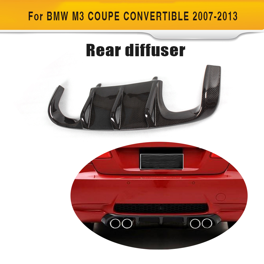цена на Carbon fiber Add On car rear bumper lip Spoiler diffuser for BMW E92 M3 Bumper 2008 - 2013 Convertible Black FRP