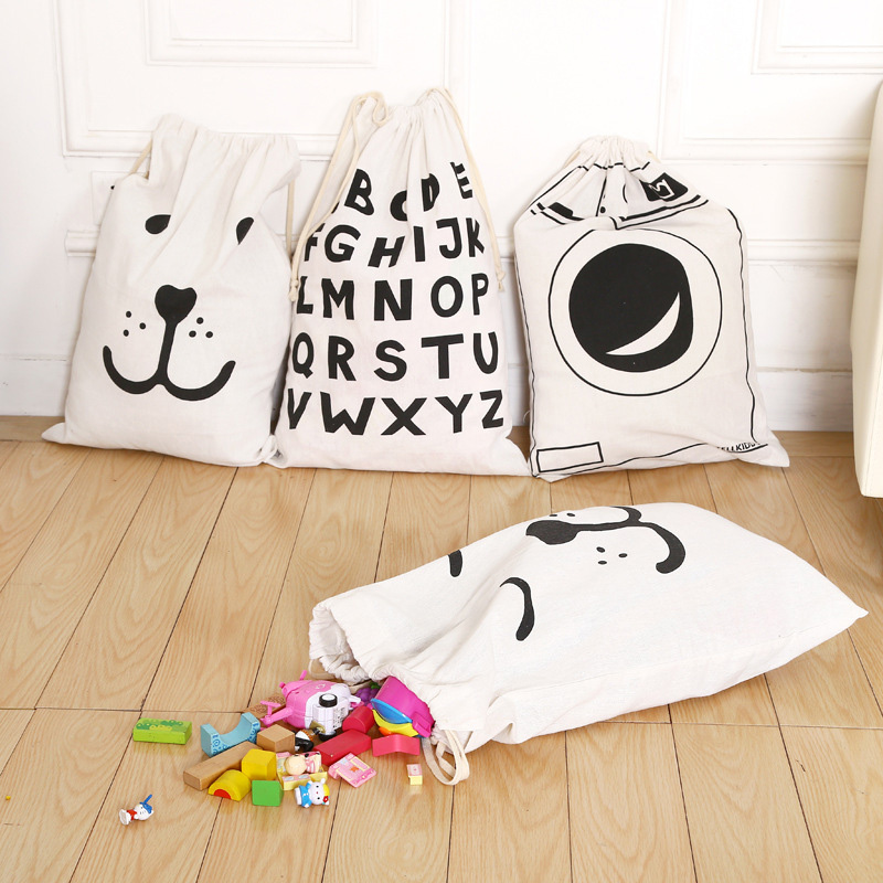 Large Capacity Rope Pouches Cotton Linen Bag Drawstring Laundry Toys Clothes Shoe Sundries Storage Luggage Stuff Bags