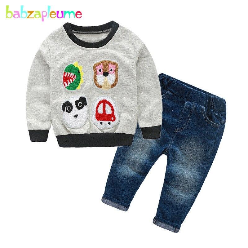 2 шт./1-5years/Демисезонный Одежда для маленьких мальчиков мультфильм милый хлопок детская футболка + Джинсы для женщин детская одежда комплект ...