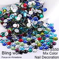 SS3-SS30 Mix Colors Nail Art Rhinestones With Round Flatback For Nails Art Cell Phone And Wedding Decorations